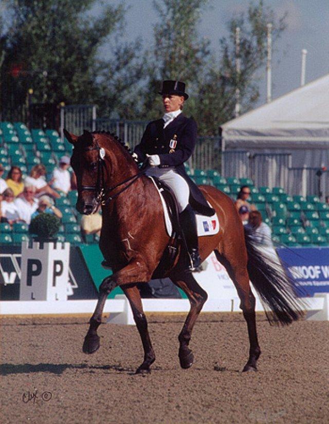 Karen et Castello l´Ami aux Championnats d´Europe de Hickstead en 2003